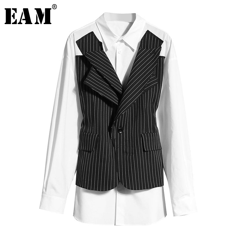 [EAM] Women Black Striped Split Big Size Blouse New Lapel Long Sleeve Loose Fit Shirt Fashion Tide Spring Summer 2020 1W022
