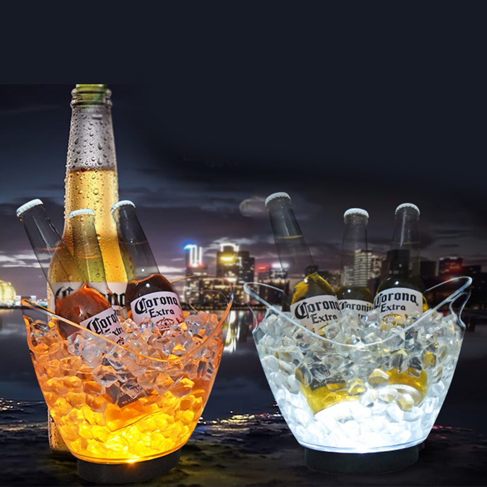 New Waterproof LED Ice Bucket Nightclub Bar Party Champagne Wine Bucket 6 Color Transparent Light Wine Barrel 5 Color(China)