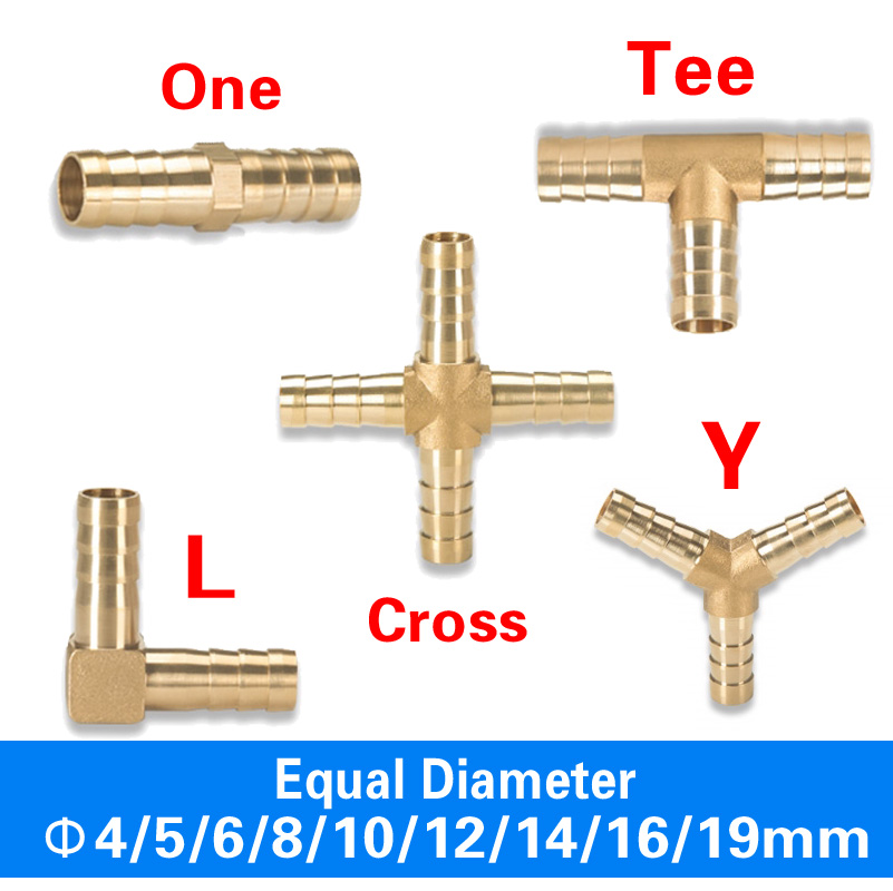 Brass Barb Pipe Fitting 2 3 4 Way Connector For 4mm 5mm 6mm 8mm 10mm 12mm 16mm 19mm Hose Copper Pagoda Water Tube Fittings