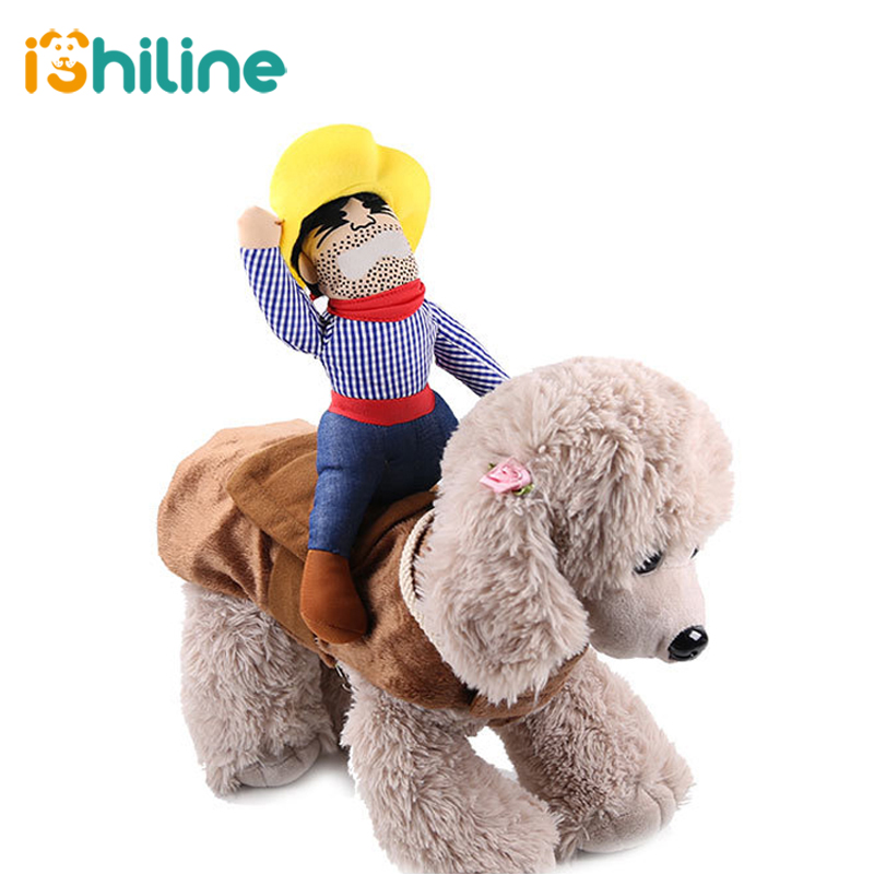 Pet Dog Costume Pet Suit Cowboy Rider Style Clothes Cat Cosplay Roleplay Anime Costume image