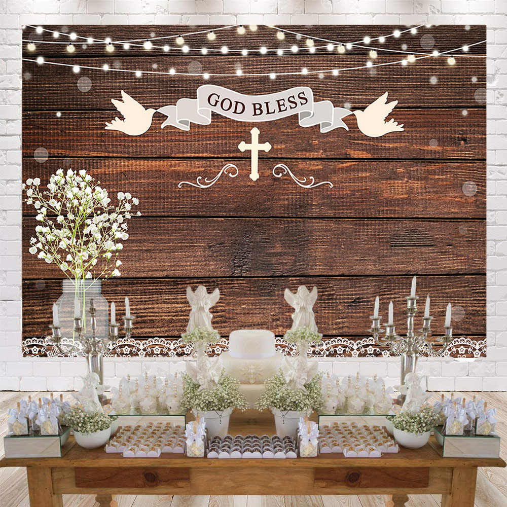 Baptism Backdrop First Holy Communion Rustic Wood Photography Background God Bless Mason Jars Christening Party Props W 3689 Background Aliexpress