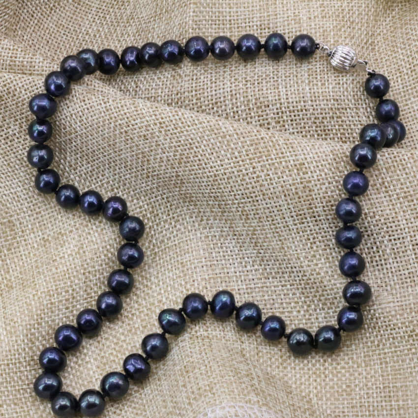 Black natural freshwater cultured pearl 7-8mm nearround beads chain necklace for women choker elegant diy jewelry 18inch B3223