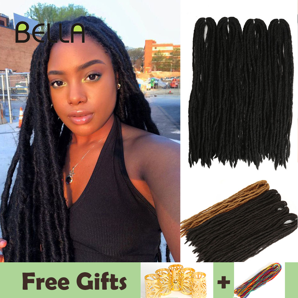 Bella Dreadlocks Hair Extensions Crochet Hair Black Brown Synthetic Hair 80 Strands Dreadlock For Women And Men 20 Inch Handmade