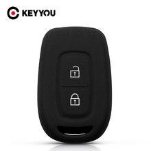 Силиконовый резиновый чехол для автомобильного ключа KEYYOU, чехол для Renault Duster Dacia Scenic Master Megane 2016 2017 Fob, чехол для ключа с 2 кнопками