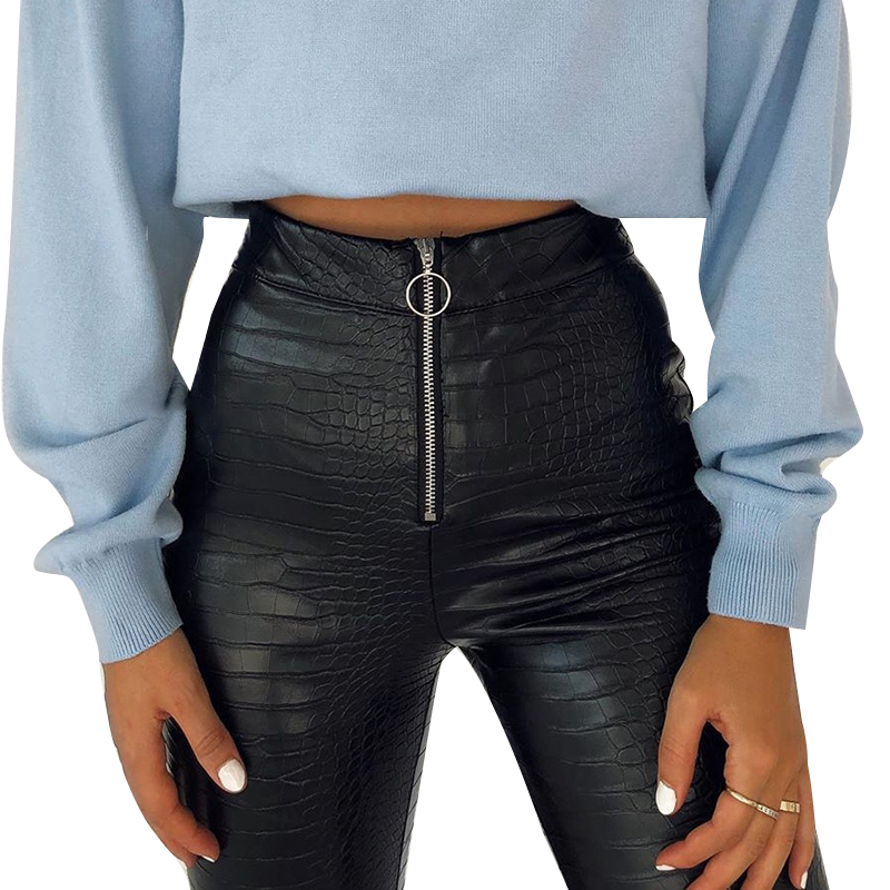 H3a6c6ad492b2426ea1cc687e3a9bcd5a9 - InstaHot Elegant High Waist Faux Leather Pants Women Pencil Skinny Pants Office Ladies Trousers Casual Slim Black Capris