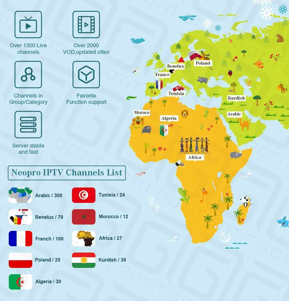 Meilleur arabe français NEO IPTV pendant 1 an avec 1200 + canal TV & VOD pour belgique maroc iptv smart tv Android Enigma M3U STB tv box