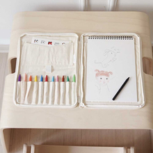4k canvas gray drawing board multi functional sketchpad art bag blue red black grey optinal Creative Baby Drawing Crayon Case Children's Canvas Brush Storage Bag Multi-Functional Large Capacity Learning Education