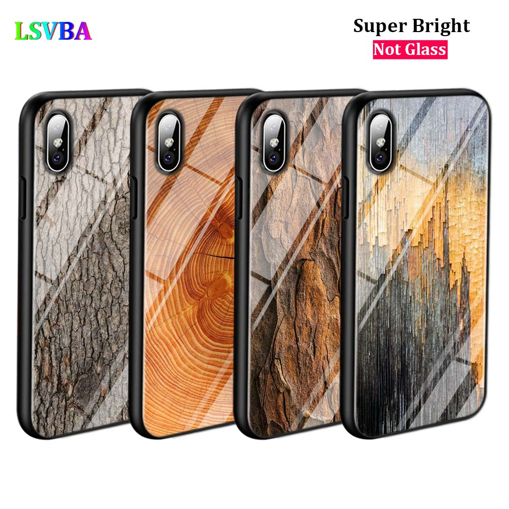 Black Cover Texture Wood for iPhone X XR XS Max 8 7 6 6S Plus 5S 5 SE Super Bright Glossy Phone Case