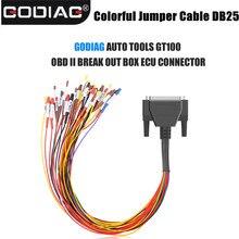 Colorful Jumper Cable DB25 for GODIAG AUTO TOOLS GT100 OBD II Break Out Box ECU Connector
