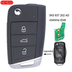 KEYECU Upgraded Remote Key Fob 434MHz ID48 Chip for Volkswagen Beetle Passat - FCC ID: 5K0 837 202 AD