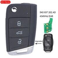 KEYECU yükseltilmiş uzaktan anahtar Fob 434MHz ID48 çip Volkswagen Beetle Passat-FCC ID: 5K0 837 202 AD