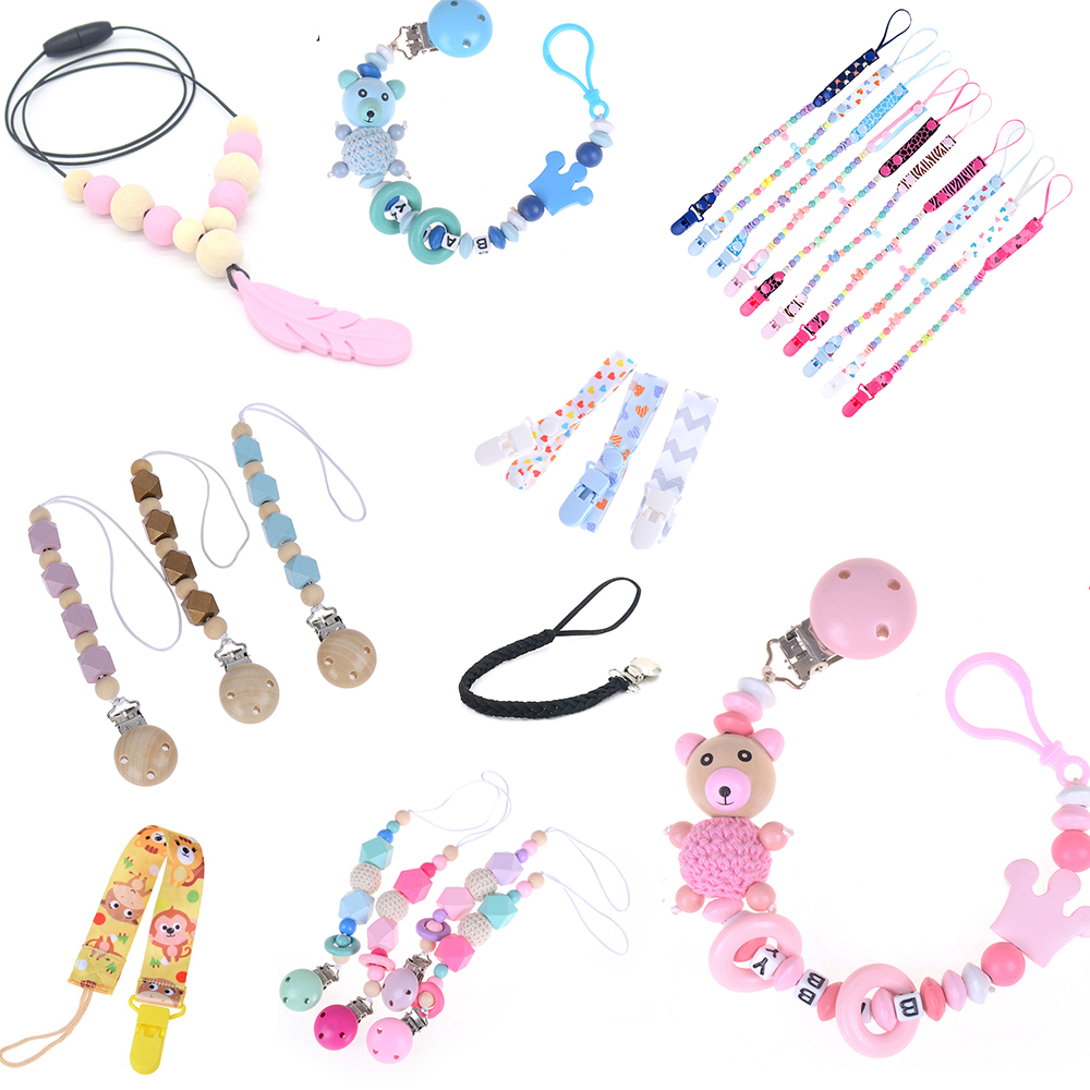 Baby Pacifier Clips Pacifier Chain Dummy Clip Heart Nipple Holder For Nipples Children Cartoon Dot Pacifier Clip Soother Holder