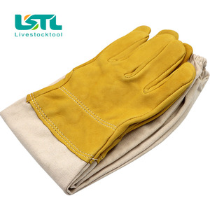 Image 2 - Beekeeping Gloves Protective Sleeves Ventilated Professional Sheepskin And Canvas Anti Bee For Apiculture Beekeeping Gloves