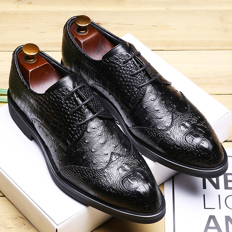 Men Dress Shoes Formal Wedding Leather Shoes Brand Luxury Carved Business Office Men's Flats Oxfords For Men