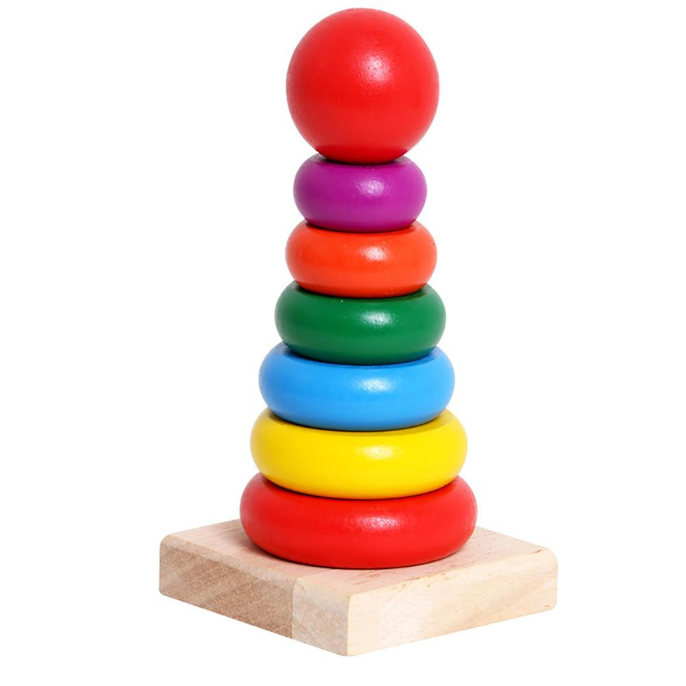 Classic Wooden Rainbow Stacker Rings Stacking Educational Kids Toddlers Toy Non-toxic Paint Development Toy Wooden Pile Up Toys