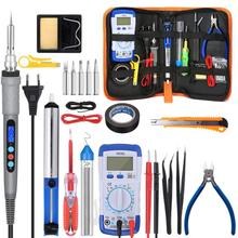 110V/220V 60W/80W/90W Electric Soldering Iron Multimeter Temperature Desoldeirng Pump Welding Tool With 5pcs Soldering Tips Tool