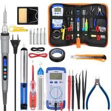 Электрический паяльник 110 В/220 В 60 Вт/80 Вт/90 Вт, мультиметр, отсос температуры, сварочный инструмент с 5 шт. наконечников, инструмент