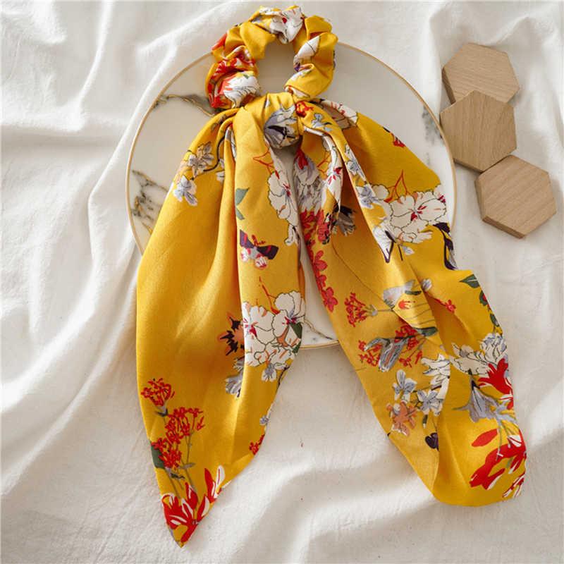DIY ของแข็ง/ดอกไม้พิมพ์ซาตินยาวริบบิ้นผ้าพันคอผม Tie Scrunchies ผู้หญิงสาวผมวงยืดหยุ่นผมอุปกรณ์เสริม