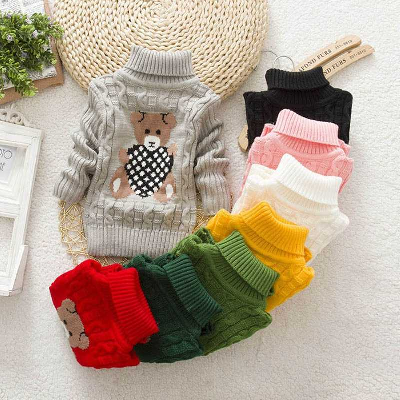 Children Winter Sweater Long Sleeve Bear Print Knit Crochet Tops Clothes Outfits 2019 New Style For Kids Girls Boys 12M-6T