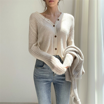 Ailegogo 2020 Autumn Winter Women's V-Neck Sexy Knitwear Stylish Knitted Button Cardigans Korean Lady Sweaters SWC2205 3