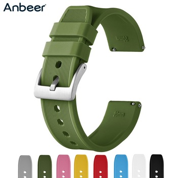 Anbeer Silicone Watchband 18mm 20mm 22mm 24mm Green Blue Sport Strap Quick Release Rubber Replacement Men Smart Watches Bracelet
