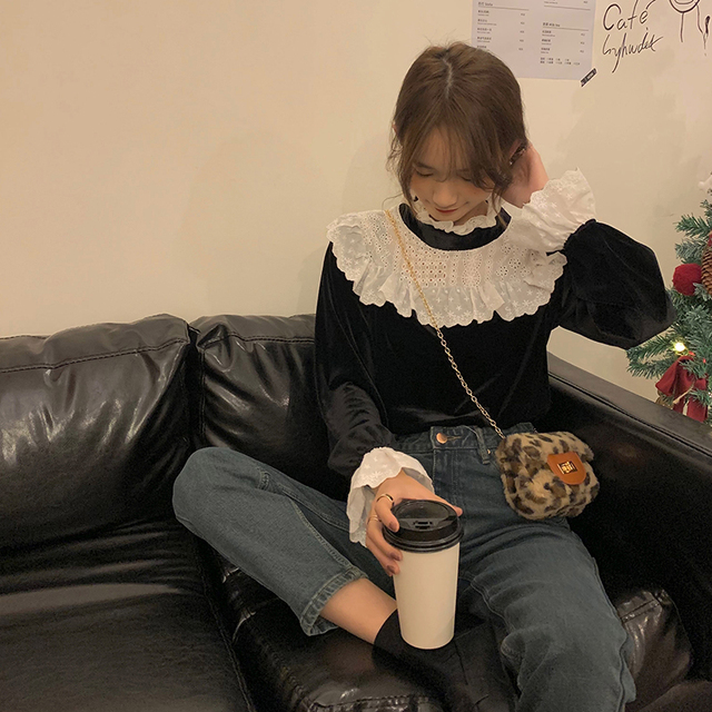 Ruched Ruffle Spliced Korean Blouses For Ladies Spring Long Sleeve Shirt Stand Collar Vintage 2021 Shirts Female Blusas Ins Tops 3