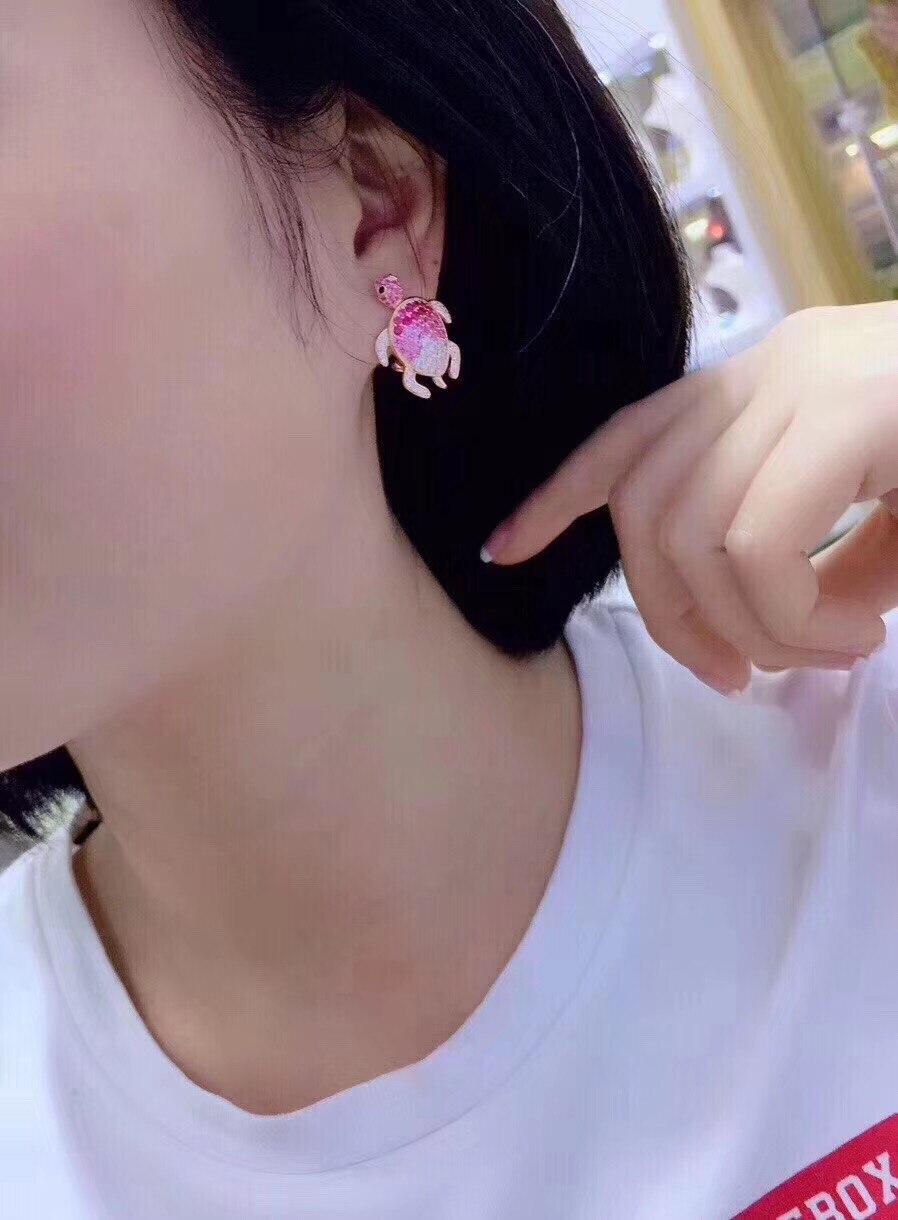 Mignon rose couleur tortue stud boucle d'oreille 925 en argent sterling avec zircon cubique 24*18MM bijoux de mode pour femmes et filles - 2