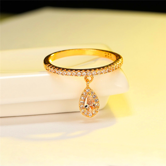 Female Luxury Water Drop Pendant White Zircon Rings For Women Yellow Gold/White Gold/Rose Gold Filled Crystal Ring Boho Jewelry 5