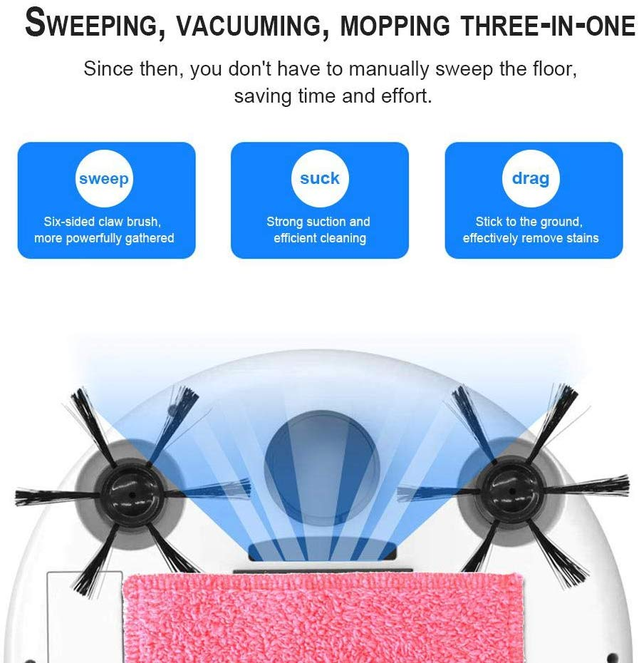 Smart Robot Vacuum Cleaner Fully Automatic 4-in-1 1200pa USB Charging Sweeping Robot Dry and Wet Mop UV Disinfection Cleaner