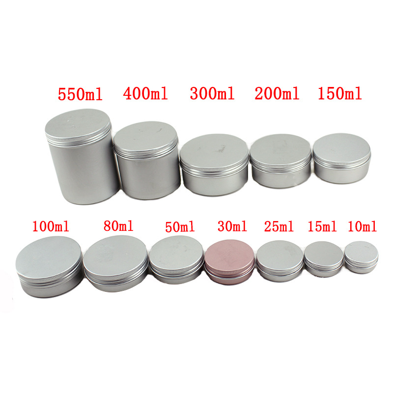 15ml/50ml/100ml/150ml Empty Aluminum Jars Refillable Cosmetic Bottle Ointment Cream Sample Packaging Containers Screw Cap