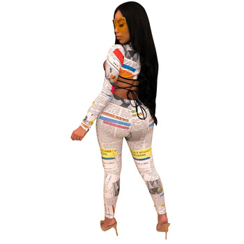 Newspaper Print Women 3 Piece Set Skinny Club Long Sleeve Crop +Bra Top and Long Pant Suit Lady Tracksuit Autumn Bandage Outfits 1