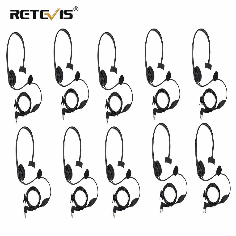 10pcs Black 2 Pin PTT MIC Earpiece Headphone Headset For Motorola GP-300/88/2000 PRO1150 SLS-1110 Ham Radio Walkie Talkie C2229A