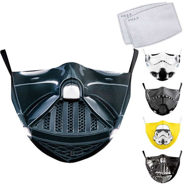 Classic Movie Star War Cosplay Print Face Mask Adult Kid Washable Masks Fabric Reusable PM2.5 Filters Dust Proof