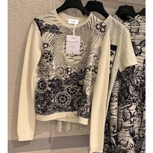 Cosmicchic осенне-зимний женский кашемировый пуловер с длинным рукавом и круглым вырезом, свитер с вышивкой, модный дизайнерский свитер для подиума