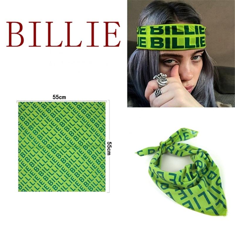 Cosplay Billie Eilish Rock Bandana Headband Cosplay Hats Hip-Hop Green Square Scarf Necklace Brooch Badge Clothing Accessories