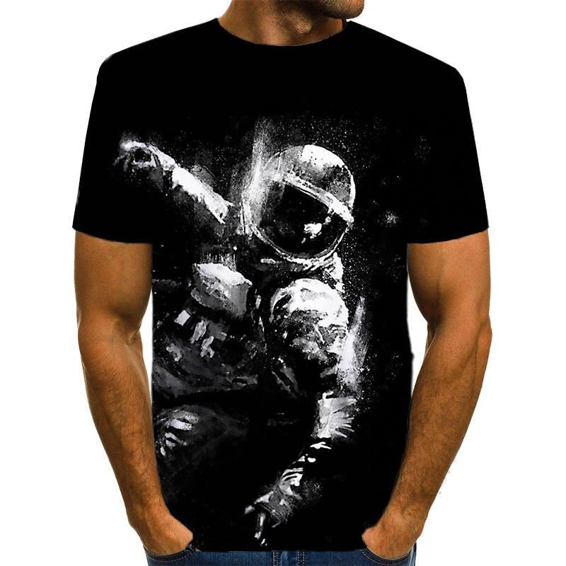 2019 Cloudstyle 3D T shirt Men Space Astronaut Planet Print Tees Shirt Short Sleeve Casual Fashion Black Astronaut Tops&Tees Men cardigan