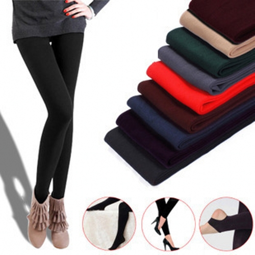 Thick Leggings Women Fleece Candy Colors Ankle-Length Stirrup Stretchy Leggings Knitted Elastic Waist B99392