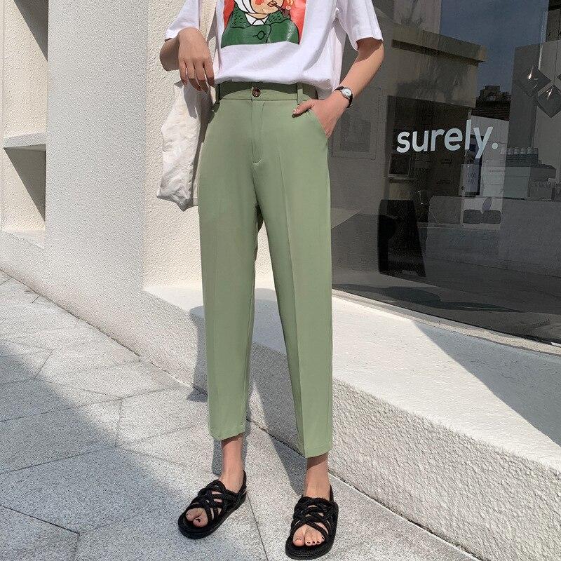 VRIGINER New Spring Summer Women Casual Harem Pants High Waist Fashion Loose Formal Elegant Classic Office Lady Ankle-Length