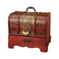 Large Vintage Metal Lock Trinket Jewelry Storage Box Organizer Handmade Decorative Wooden Treasure Case Chest Gift
