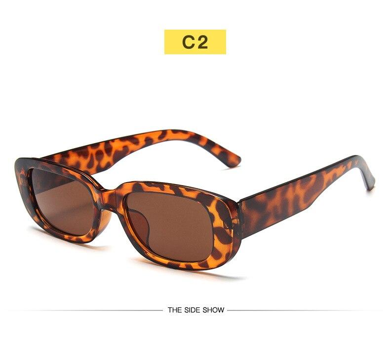 Occhiali da sole rettangolari piccoli donna Vintage Brand Designer Square occhiali da sole tonalità donna 2