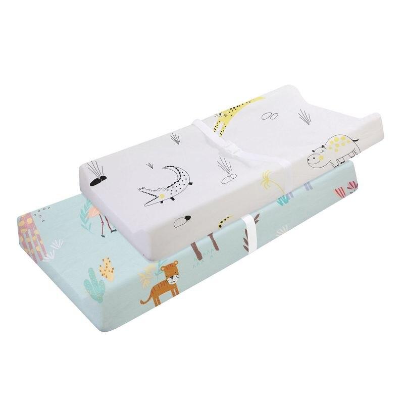 Эластичный чехол для пеленального столика-2 шт. в упаковке, эластичный чехол для пеленального столика для мальчиков и девочек, 89*44 см, простыня для кроватки - Цвет: CLS0043-4-1