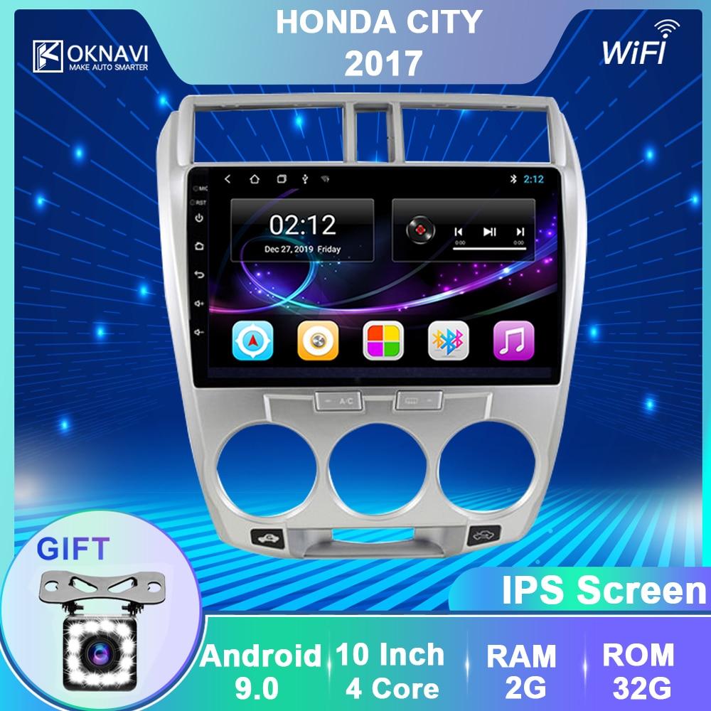 OKNAVI Android 9.0 Car Radio GPS Multimedia Player For Honda CITY 2011 2012 2013 2014 2015 2016 Stereo Navigation 2 Din No DVD