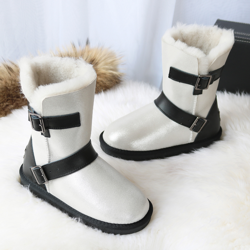 Winter New Sheeoskin Fur Boots Natural Wool Knight Boots Women Genuine Leather Female Snow Boots Snow Boots Mid Calf