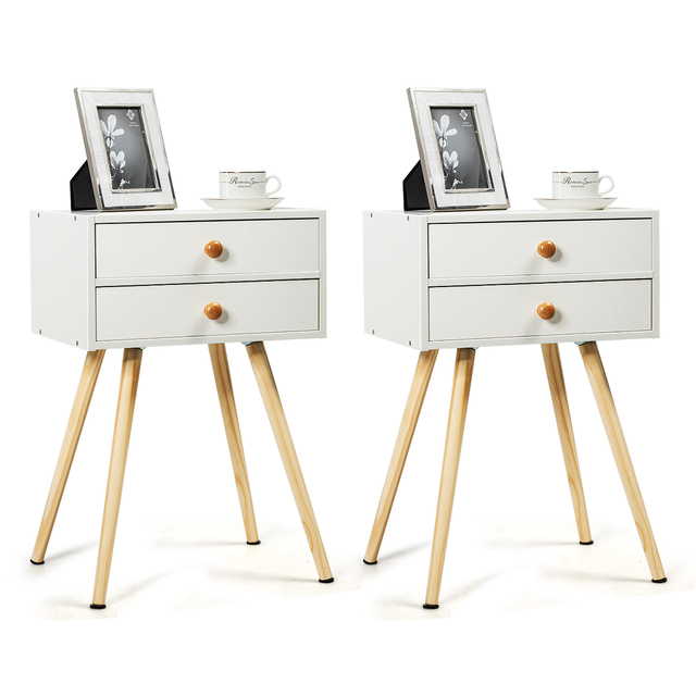 2PC Mid Century Modern 2 Drawers Nightstand In White  1