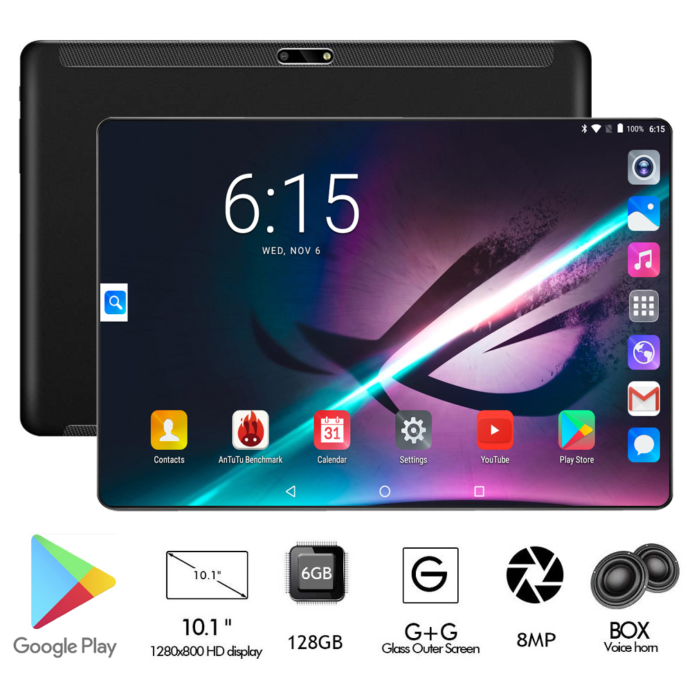 Global Version Perkbox Pro 6GB RAM 128GB ROM 10 inch tablet Octa Core Fast 6000mAh Battery Dual 8MP Android 9.0 GPS 10 10.1