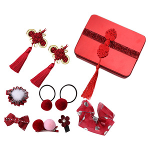 Hair Accessories For Girls Set Lovely Sweet Kid Girl Traditional Headwear Hairclip Red Chinese Style Hairpin Box Sets Barrettes