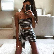 Women Plaid Bodycon Two Piece Clothes Set Sleeveless Croped String Tops