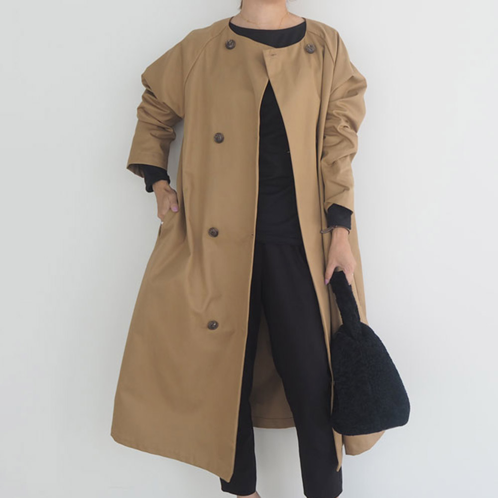 Elegant Trench Coat Women Autumn Spring Solid Khaki Double Breasted Korean Office Ladies Long Coats Rerto Windbreaker Outwear