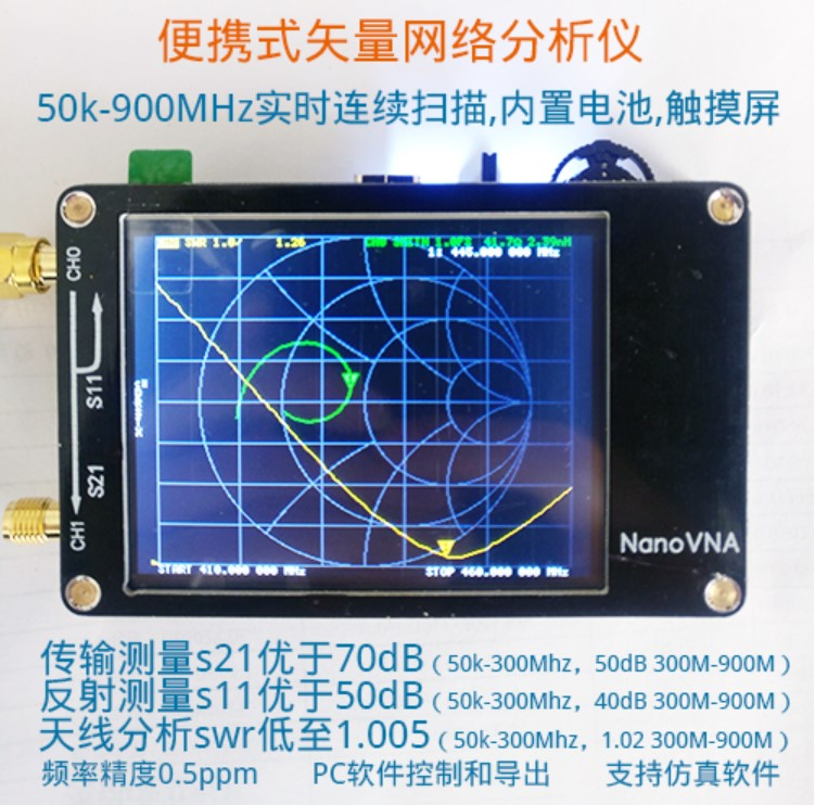 Analyseur d'antenne NanoVNA Nano VNA analyseur de réseau vectoriel Smith