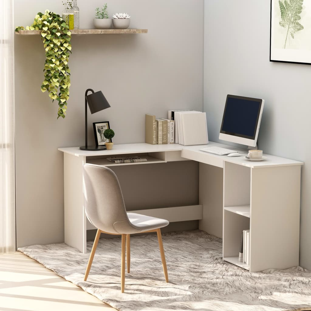 VidaXL L-Shaped Corner Desk White 120x140x75 Cm Chipboard